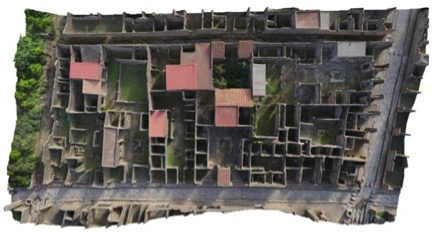Bird's eye view of the insula's archaeological remains model, Swedish Pompeii Project