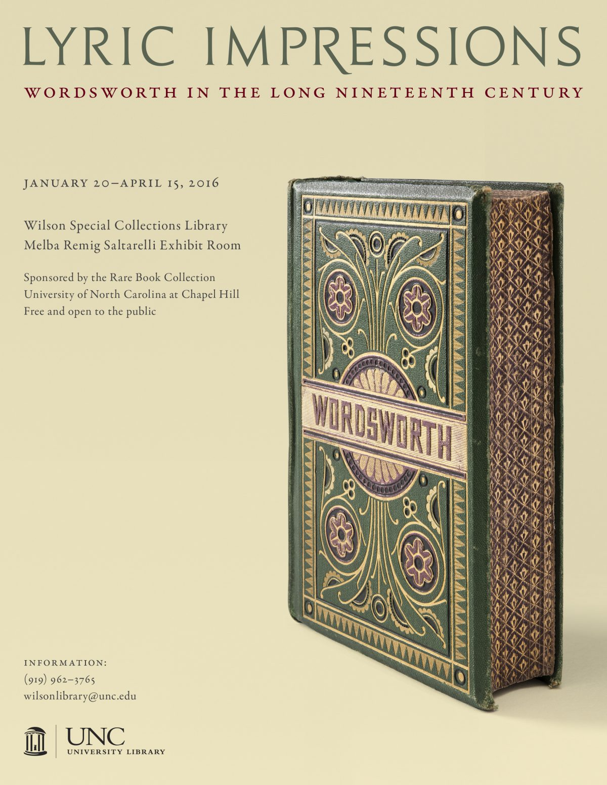 "Assessment of UNC Rare Book Collection's ""Lyric Impressions: Wordsworth in the Long Nineteenth Century"" Exhibition"