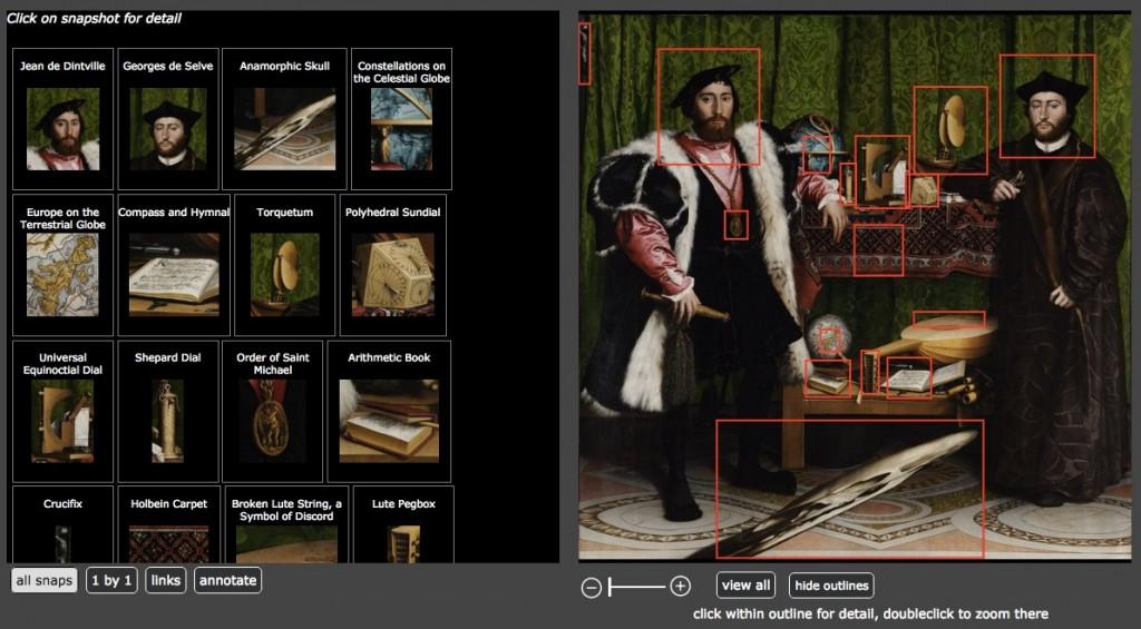 Screenshot of ImageDiver's annotations of The Ambassadors (Hans Holbein, 1533)
